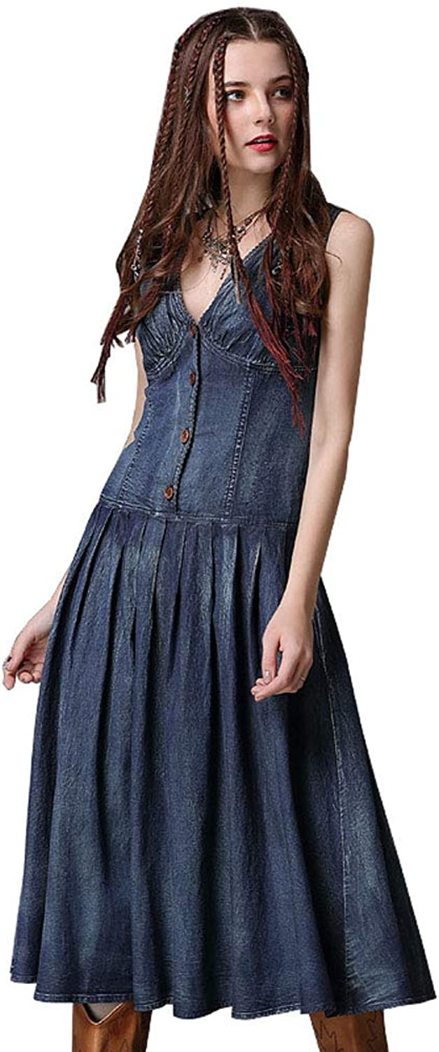 Jsix Women's V Neck Long Maxi Dresses Sleeveless Button up Denim Vest Dress