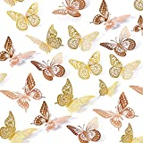3D Butterfly Wall Stickers, 48 Pcs 4 Styles 2 Color 3 Sizes, Removable Metallic Wall Sticker Room Mural Decals Decoration for Kids Bedroom Nursery Classroom Party Wedding Decor DIY Gift (2 Color)
