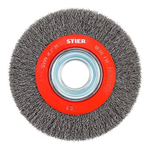 STIER Rundbürste 200 mm für Winkelschleifer, Bohrung 32 mm, gewellt, Stahl, Drahtbürste, Winkelschleifer Bürste, Schleifbürste, Topfbürste Winkelschleifer