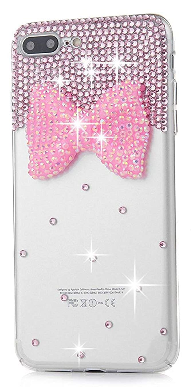 STENES iPhone 8 Plus Case - Stylish - 100+ Bling Crystal - 3D Bling Handmade Big Bling Bow Bowknot Design Cover for iPhone 8 Plus/iPhone 7 Plus - Pink
