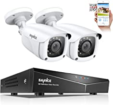 SANNCE Security Camera Systems 4CH 1080N DVR and (2) 1080P Weatherproof CCTV Bullet Cameras, Indoor/Outdoor Weatherproof Cameras with IR Night Vision LEDs- NO HDD
