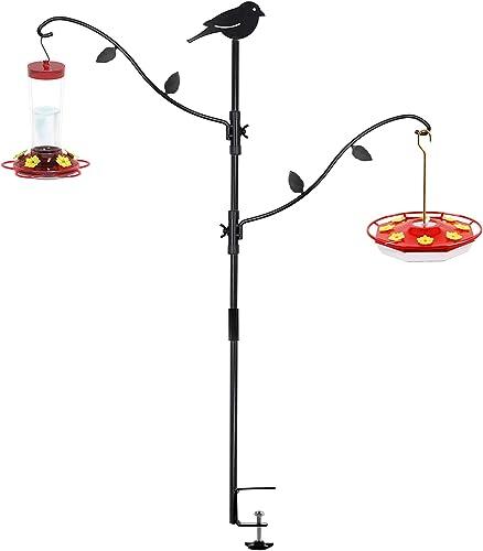 popular yosager Deck Bird Feeder Pole Bird Feeding Station Kit Porch Multi outlet sale Hook Bird Feeder Hooks Hanging Kit for Deck Kit with Two Adjustable Branches, Attracting Wild high quality Birds Bird Feeder Planter Hanger outlet online sale