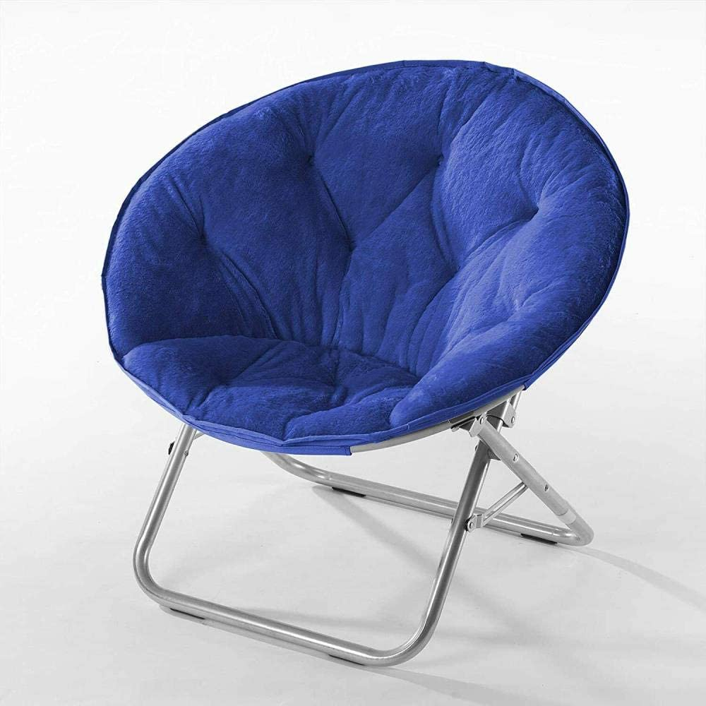 Faux Fur Saucer Chair with Foldable Metal Frame Multiple Colors,Black