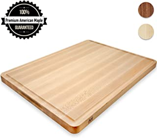 Wood Cutting Board Extra Large Maple 20x15 Inch Reversible with Handles and Juice Groove, Thick Butcher Block Chopping Board Carving Cheese Charcuterie Serving Handmade by AtoHom