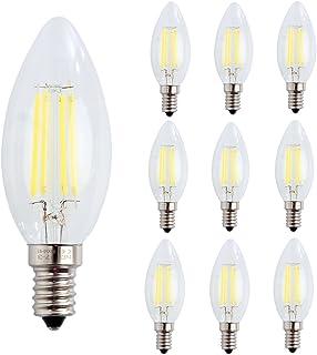 10 X E14 Bombillas de Filamento, 4W COB LED de Bombillas Edison 400LM, estilo vintage Forma de Vela Blanco Frío 6500K AC 220-240V