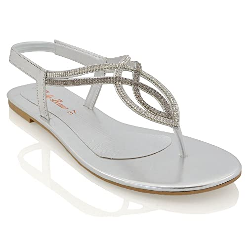 c2164e9dbdbf ESSEX GLAM Womens Flat T-BAR Diamante Sparkly Ladies Slingback Toe Post  Sandals Shoes Size