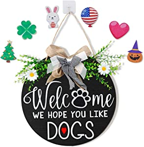 Interchangeable Welcome Sign for Front Door Decor, Hello Sign with Bowknot, Welcome Wooden Sign with 7 Seasonal Ornament for Home Front Door Porch Holiday Hanging Outdoor