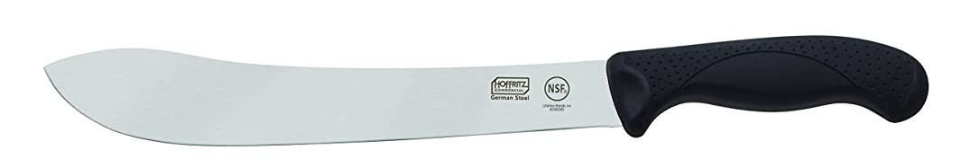 Hoffritz Commercial 5190085 Top Rated German Steel Butcher Knife with Non-Slip Handle for Home and Professional Use, 10-Inch, Black