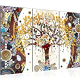 Tableau decoration murale Gustav Klimt - Arbre de vie 120 x 80 cm XXL Impression sur Toile Salon Appartment 3 Parties - prêt à accrocher 004631a