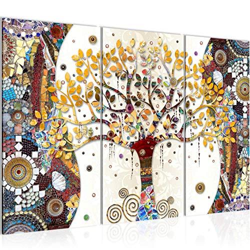 Bilder Klimt Baum des Lebens Wandbild 120 x 80 cm 3 Teilig Vlies Leinwand Bild XXL Format Wandbilder Wohnzimmer Wohnung MADE IN GERMANY Fertig zum Aufhängen 004631a