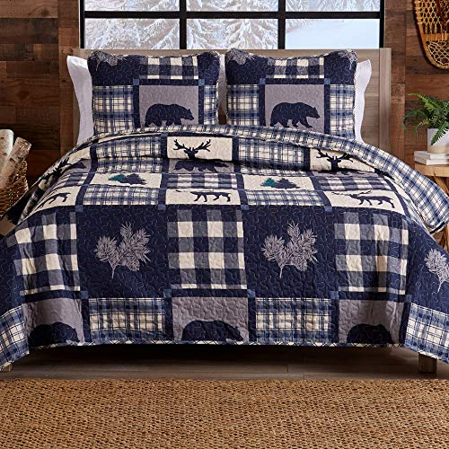 Great Bay Home Lodge Tagesdecke für Doppelbett & Queen-Size-Bett, mit 2 Kissenbezügen, 3-teiliges wendbares Bettwäsche-Set für alle Jahreszeiten, aus der Stonehurst-Kollektion (Marineblau/Grau)