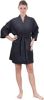 Women's Knee Length Waffle Weave Kimono Bathrobe, Short Spa Robes