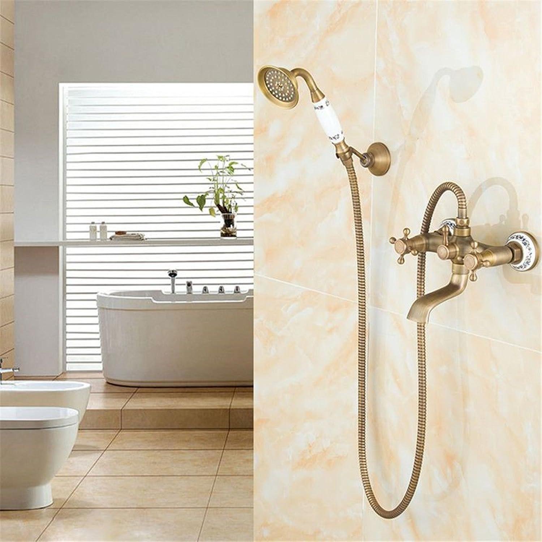 Bijjaladeva Antike Badezimmer Regen Mixer Dusche Regendusche Hahn System TippenEuropische Retro Dusche Wasserhahn Festen Stand - Kupfer Dusche Einstellen