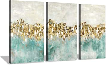 Abstract Canvas Wall Art Artwork: Blue and Gold Painting Hand Painted Picture for Living Room (20x34x3 Panels)
