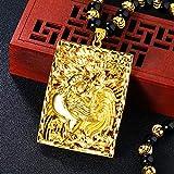 Roshow Gallo Llanto Cuadrado Marca Colgante Collar Hombres Latón 24K Chapado en Oro Obsidiana Vietnam Arena Oro Collar-Colgante (excluyendo Cadena)