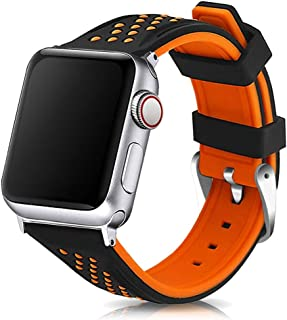 Compatible with Apple Watch Bands 38mm 42mm 40mm 44mm Quick Release Divers Model Silicone Replacement Rubber Watch Strap for iWatch Series 5 4 3 2 1 Sport Bicolor for Men and Women (Orange, 42mm/44mm)