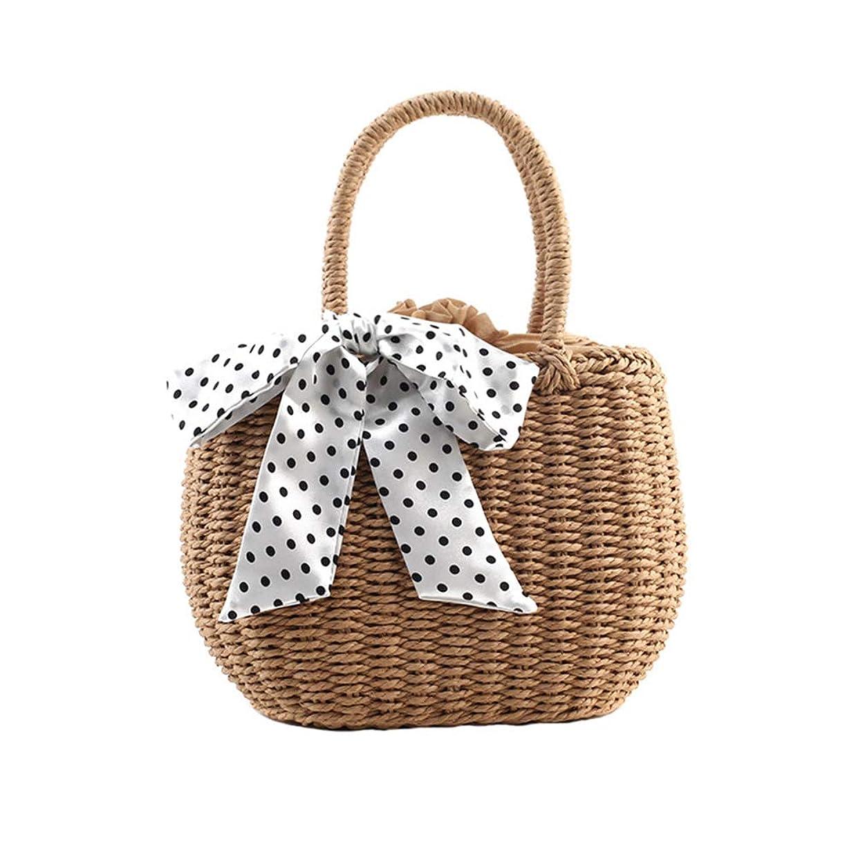 ゲーム部分的費やすリボン カゴバッグ 巾着 編みバッグ 小さめ ストローバッグ 手提げ 草編みバッグ 可愛い 編みかご 麦わら ミニトートバッグ お洒落 レディース 夏バッグ 通勤 海旅行用 ビーチバッグ