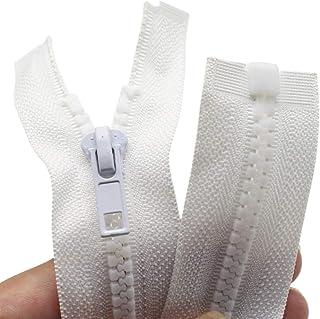 """YaHoGa 2 peças #5 Zíperes separados para jaqueta de costura Jaqueta com zíper Branco Moldado Plástico Zíperes em lote, 32""""..."""