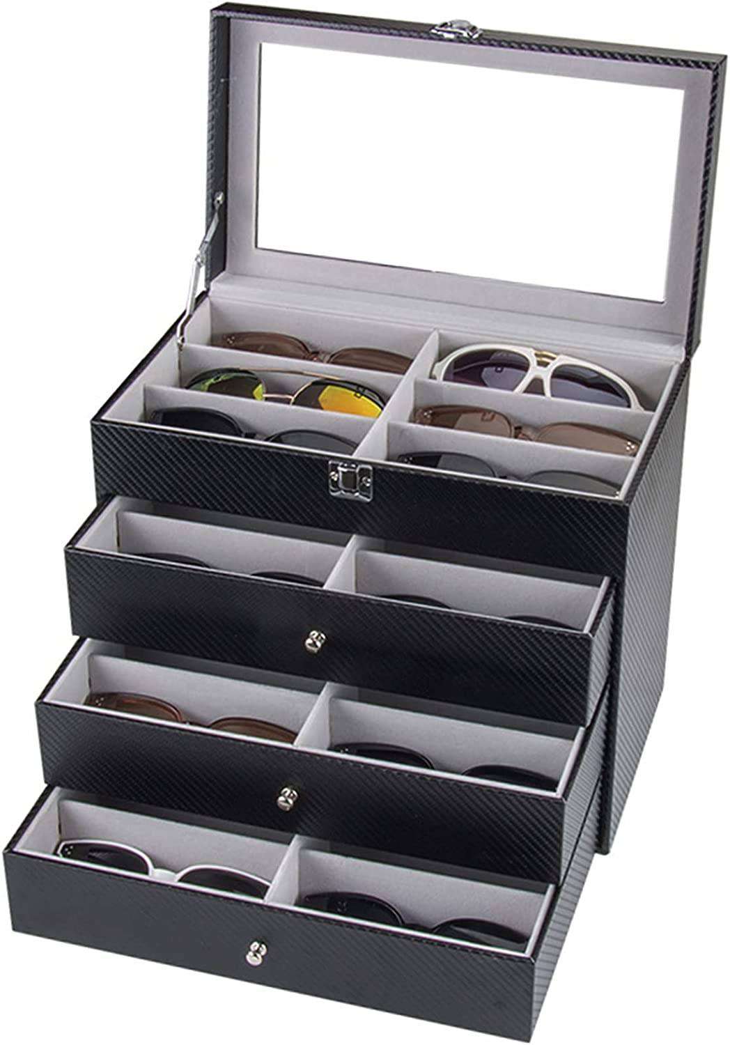 Gdrasuya10 4 Layer 24 Slots Eyeglass Sunglasses Storage Box with Removable Drawer, PU Leather Eyewear Display Case with Lockable Helpful for Storing Sunglasses and Eyeglasses to Keeping Home Clean
