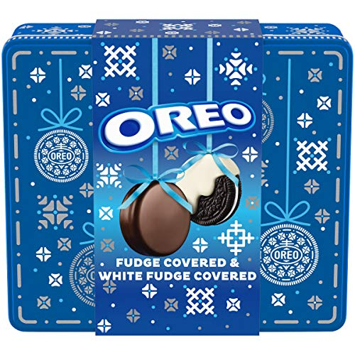 OREO Fudge and White Fudge Covered Chocolate Sandwich Cookies, Original Flavor Creme, Holiday Gift...