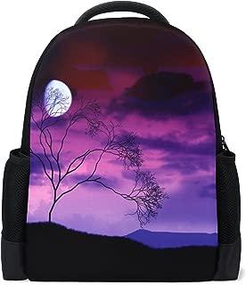 School Backpack Bookbag Daypack Bright Moon Tree Midnight Werewolf Waterproof for Middle School Travel Girls Boys