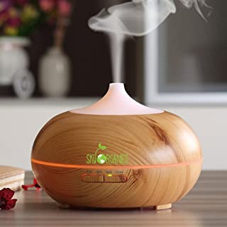 Essential Oils Diffuser by Sky Organics- Wood-Grain Aromatherapy Humidifier 300ml- Whisper Quiet Cool Mist, Auto Shut-Off, Multi-Color Lights Ideal for Use with Sky Organics Pure Essential Oils