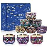 Supersun 9 Stück Duftkerze Vanille, Lavendel, Geschenkset Frauen Schöne Kerzen Duftkerzen Set mit Angenehmer Duft für Aromatherapie Geschenkset für Frauen