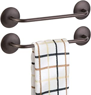 mDesign Decorative Metal Small Towel Bar - Strong Self Adhesive - Storage and Display Rack for Hand, Dish, and Tea Towels - Stick to Wall, Cabinet, Door, Mirror in Kitchen, Bathroom - 2 Pack - Bronze