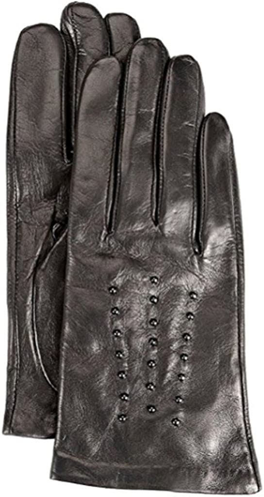 MICHAEL KORS Stud Accented women Leather Gloves Fleece-Lined