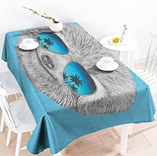 Elastic tablecloth rectangular,Sloth Portrait of Sloth with Mirror Sunglasses Exotic Palm Trees Hawaiian Beach Hipster,Resistant/Spill-Proof/Waterproof Table Cover,W54x90L, Grey Blue Aqua