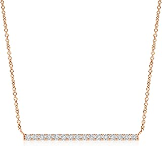 Lab Grown Diamond Horizontal Bar Pendant Necklace in 14k Gold (0.16 ctw, H Color & SI2 Clarity)