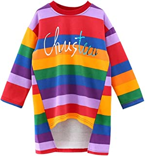 Newborn Baby Rainbow Printed Tops Dress Asymmetrical Skirts Princess Dresses Stripe Letter Print New 2-6 Years Ki-8Jcud