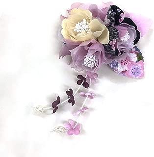 [ミッシュキッシュ]髪飾り ヘアアクセサリー コサージュ 小花と下がりの和柄クリップ 4517-523