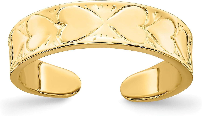 14k Yellow Gold Sideways Hearts Toe Ring