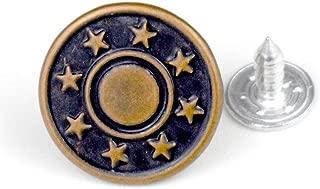 20 Pcs Replacement Jeans Buttons, LaZimnInc Metal Button Snap Buttons Replacement Kit with Star Patterns (0.67inch)