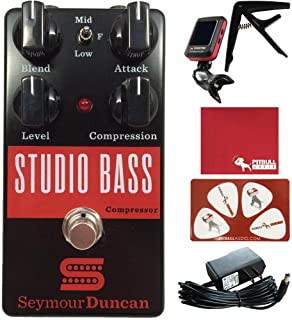 Seymour Duncan Studio Bass Compressor Guitar Effects Pedal with Polish Cloth, Pick Card, Tuner, Capo, 9V Power Supply