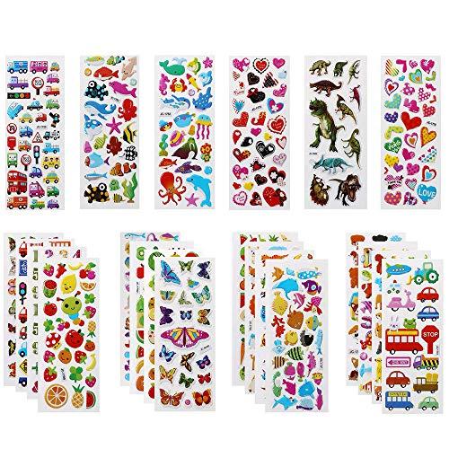Vicloon Adesivi per Bambini,500+ Adesivi 3D Stickers,Puffy Adesivi Bambini Attacca Stacca per Regali Gratificanti Scrapbooking Inclusi Animali,Pesci,Numeri,Frutta,Camion, Aeroplani e Altro(22 Fogli)