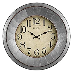 Bulova C4839 Industrial Wall Clock, Galvanized Silver/Tone Finish