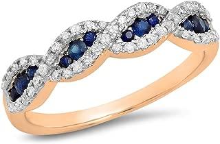10K Gold Blue Sapphire & White Diamond Bridal Swirl Stackable Anniversary Wedding Band
