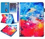 EUWLY Funda iPad 5/iPad 6/iPad 7/iPad 8/iPad Air/iPad Air 2, Carcasa iPad 5 iPad 6 iPad 7 iPad 8 Tablet Case Ultra Slim Ligera Premium PU Leather Smart Cover, Brillante Cielo Estrellado