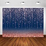Avezano Rose Gold and Navy Glitter Sparkle Backdrop for Adult Kids Bday Party Decorations Photography Background Navy Blue Rose Gold Bokeh Confetti Wedding Birthday Party Photoshoot Backdrops (7x5ft)