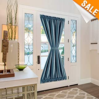 French Door Curtain Room Darkening Linen Textured Navy Blue Save On Cooling Cost Panel Curtain 72 inch Length with Bonus Tieback 1 Panel