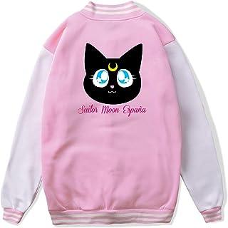 VJJ AIDEAR Sailor Moon Luna Baseball Uniform Jacket Sport Coat Boys' Long Sleeve Hoodie Pullover Black