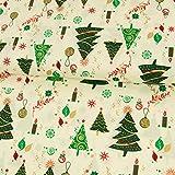 Baumwollstoff Weihnachten Tannenbäume natur - Preis gilt
