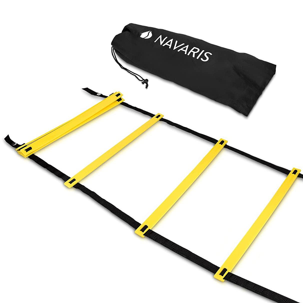 Navaris Agility Ladder 20 Feet - Speed Ladder with 12 Adjustable Rungs - Training Exercise Equipment for Football, Soccer, Tennis - Kids or Adults