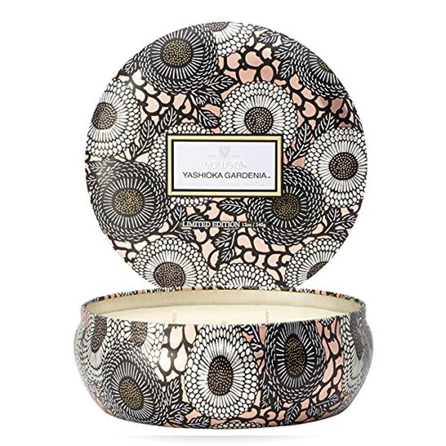 リブ用心する雑種Voluspa ボルスパ ジャポニカ リミテッド 3-Wick ティンキャンドル  ヤシオカガーデニア YASHIOKA GARDENIA JAPONICA Limited 3-ウィック Tin Glass Candle