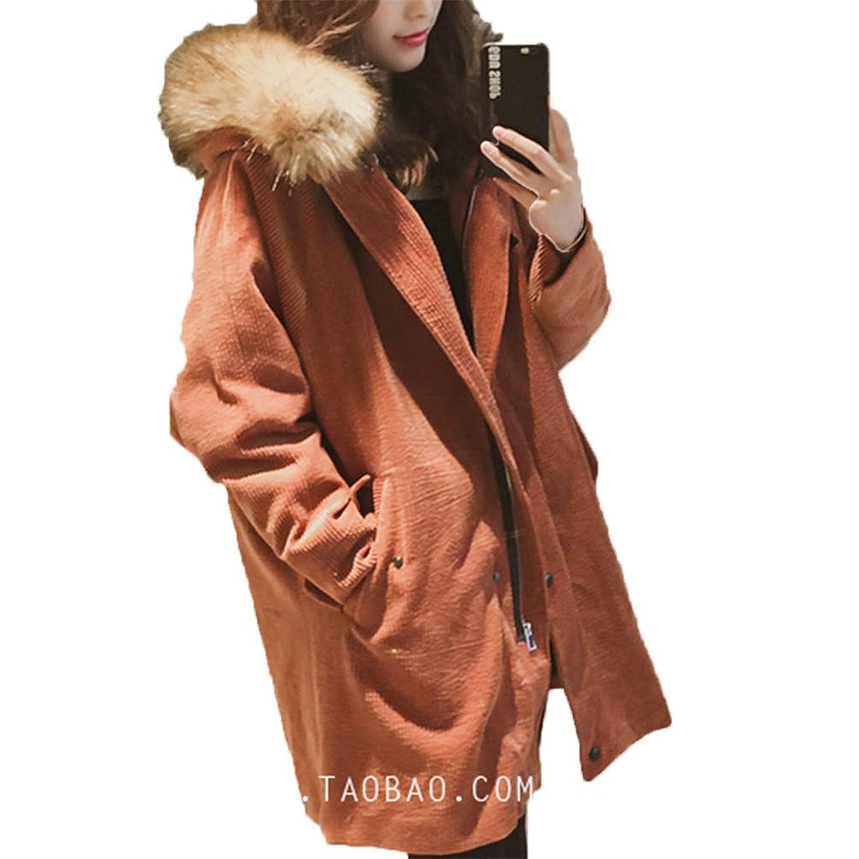 [美しいです]冬のコーデュロイジャケット女性、長い綿のジャケット、大きな毛皮の襟の学生緩いパッド入りコートフード付き
