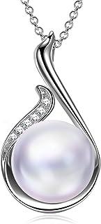 Alex Perry Regalo para Ella, Perla de Afrodita Plata de ley 925 Collar Colgantes Mujeres Redonda Cristales Swarovski Mujer...