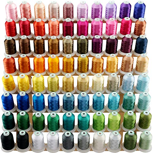 New brothread 80 Spools Polyester Embroidery Machine Thread Kit 1000M (1100Y) Each Spool - Colors Compatible with Janome and RA Colors