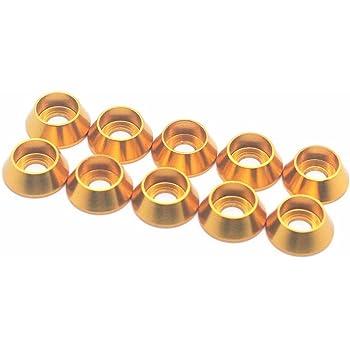 10 piezas arandelas de cabeza avellanada aleaci/ón de aluminio anodizado junta de arandela de cabeza plana M3 M4 M5 amarillo